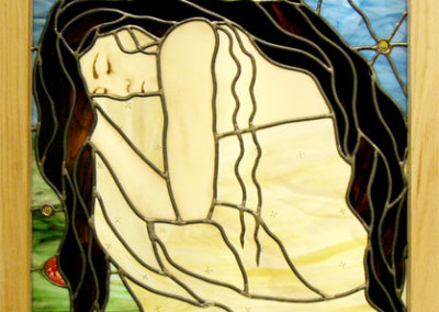 Louisa Ferguson, Sementes de Sonhos: Glass, glass paint, lead came, zinc, light box; traditional panel, painting, fusing. 2013, $2,500.
