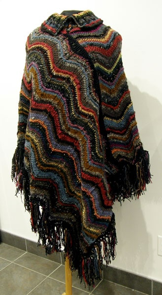 Cindy Hoppe, Midnight at the Oasis Shawl: Wool; knitting, crochet. 2012, $775.