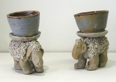 Sheep Shot Glasses (Wendy Parsons), 1975: Stoneware, glazes; Gas fired. NFS