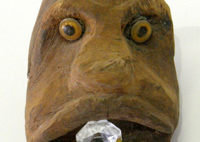 Monkey Head (Jamie Russell), 1970: Kathmandu five wood, glass eyes, crystal. NFS