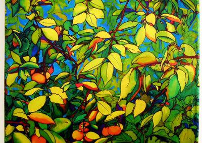 Persimmon Tree Light Panel, 2012. LED Light panel, ink-jet printed silk satin, velcro, $1,500.