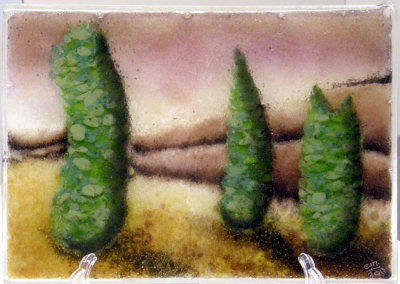 Cypress Trees: Elisabeth Miller, 2011 - Sheet glass, glass frit & powder, fused glass components; Fused. NFS $350