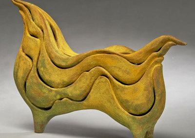 Paula Cooley: Undulatio, 2013. Ceramic sculpture, $900.