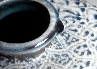 Blood and Salt, 2009 - Mel Bolen - Wheel thrown altered, carved vessel, terra sigillata slip, stain, salt vapour glazed, $1,500