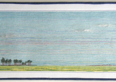 Jaynie Himsl, View From TWP Rd 080: Painted crochet cotton, embroidery floss, silk roving, commercial fabric; Custom made cord couched to a base, thread painting. 2013, NFS.
