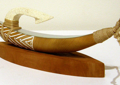 Sharon Thompson, Whangarei, Northland, NZ - Pa Kahawai', 2012. Wood, omaru stone, wax cord, paint, aluminum, $210