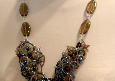 Night Bells, Shauna Mitru, 2011, Sterling silver, soda lime glass & smokey quartz