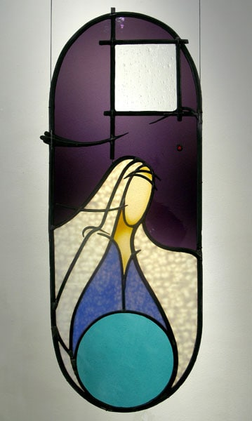 Returning to the I - Am II (Bill Popiel), 2011: Stained glass with amber silverstain, sculpted lead came. Private Collection
