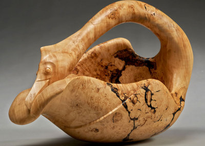 Jamie Russell: Rocking Cormorant, 2013. Carved Maple bowl - Manitoba Maple bowl, $1,500.