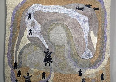 Annemarie Buchmann-Gerber: Homo Sapiens on Stitches, 2013. Mixed media Tapestry, $10,000.