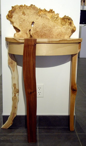 Zach Hauser, Going for Baroque: Hard Maple, soft Maple burl, Zebra wood, Lilac; inlay, glue lamination. 2013, $2,800.