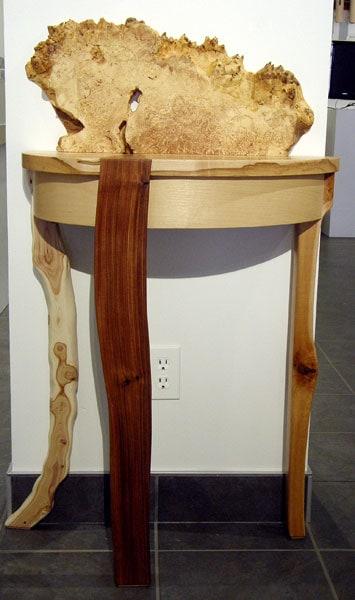 Zach Hauser, Going for Baroque: Hard Maple, soft Maple burl, Zebra wood, Lilac; inlay, glue lamination. 2013, $2,800.