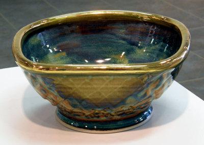 Square porcelain bowl: Mel Bolen, Clay, glazes