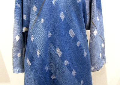 Judy Haraldson, Indigo Ikat Tunic: Tencel rayon, re-used rayon fabric, polyester thread, indigo dye; ikat pattern, indigo dye, hand woven, hand & machine stitched. 2013, NFS.