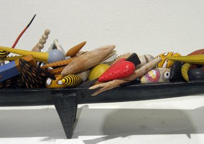 Hosaluk: Bowl of Strange Wedge Fruit - 2013, Arbutus, maple, birch, hair, copper, bronze, acrylic paint & gel. $6,500