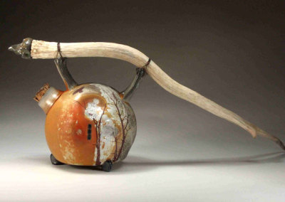 The Old Man and the Raven Rum Jug, 2010 - Christian Barr - Wood/soda fired porcelain, elk horn, tie wire, NFS