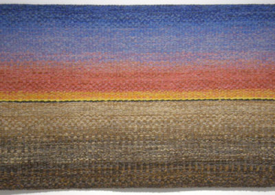 Shelley E. Hamilton, Winter Sunrise: Wool, linen, cotton; hand woven. 2013, $1,000.
