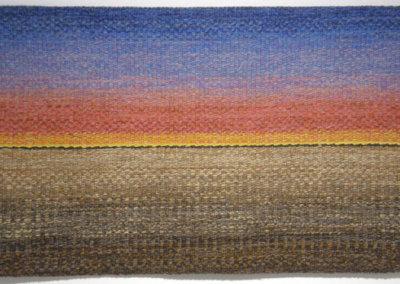 Shelley E. Hamilton, Winter Sunrise: Wool, linen, cotton; hand woven. 2013, $1,000.