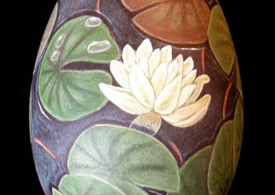Water Lily Pond: Joan Foulston, Acrylic paint, goose egg