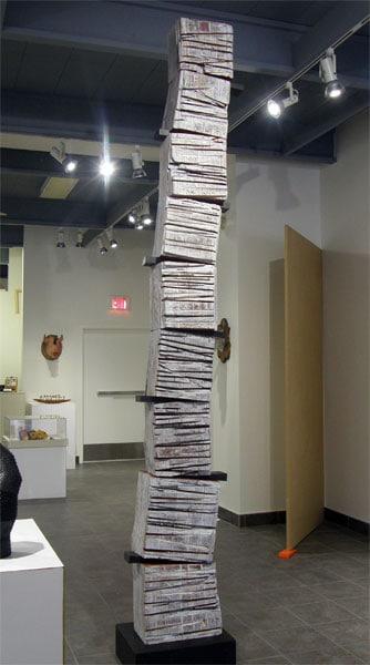 Hosaluk: White Man's Totem Pole - 2013, Fir, milk paint, maple, steel. $12,000