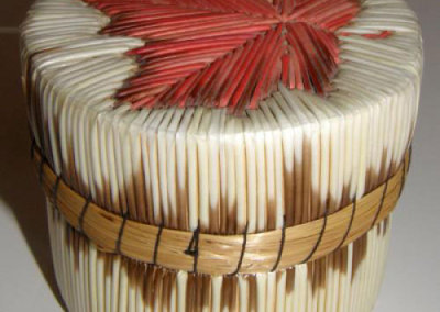 Round Lidded Birch Bark Basket - Is Manitoulin