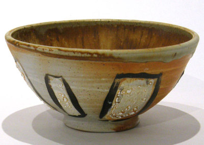 Teresa Gagne, Elwood: Stoneware, slip, glaze, underglaze; wheel thrown, wood fired. 2013, $120.