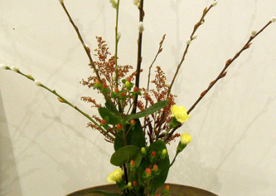 Ikebana (from Ikenobo School), Arrangement by Kimiko Hirose, Pottery by Al Scott (private collection)