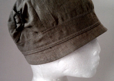 Ladies Cloche Hat - Linen with Brass Buckle