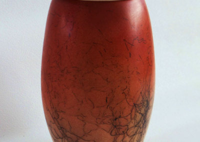 Lidded Vase-wheel thrown. Horse hair and under glaze decoration.