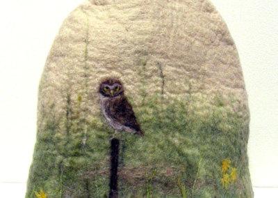 Dianne Murphy, Burrowing Owl: Wool (Corriedale, Merino, silk); wet & dry felting. 2013, $90.