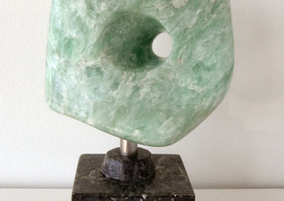 Green Piece (Daryl Richardson), 2013: Soapstone, stainless steel. $750. (On display at the YXE Airport)
