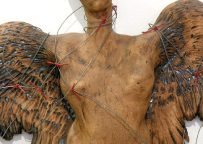 No. 5 from Earth Bound Angel Series - detail (Anita Rocamora), 1992: Earthenware, wire, ribbon; Hand built. Private Collection