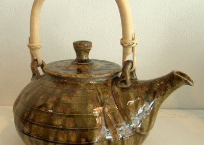 Gold Wood Ash Teapot with Cane Handle - Zach Dietrich