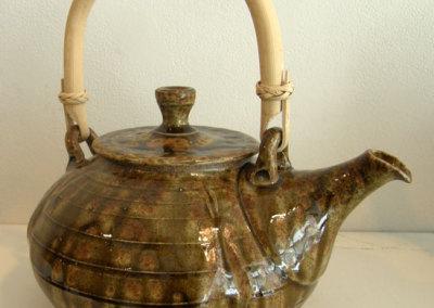 Gold Wood Ash Teapot with Cane Handle - Zach Dietrich