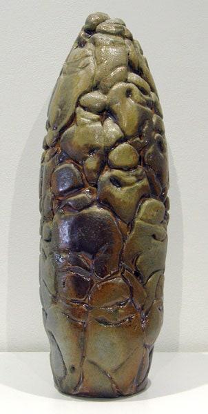 Charley Farrero, Babelin: Stoneware; hand built, wood fired. 2011, $350.