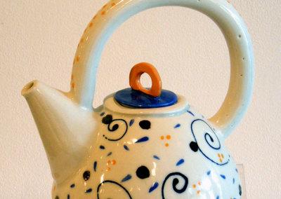 Dot & Swirl teapot: Susan Robertson, Clay, glazes