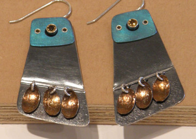 Luxor Earrings, Melody Armstrong, 2010, Sterling silver, anodized niobium, anodized titanium, citrine & patina