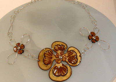 Enamel Flower Neckpiece, Melody Armstrong, 2010, Sterling silver & enameled copper