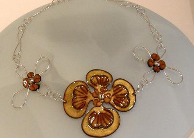 Enamel Flower Neckpiece, Melody Armstrong, 2010, Sterling silver & enameled copper