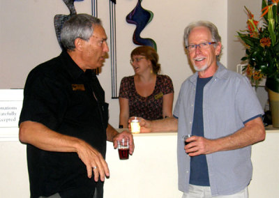 Leslie Potter, sculptor and Exhibitions & Education Coordinator at the SCC, with Lee Brady, glass artist and SCC member