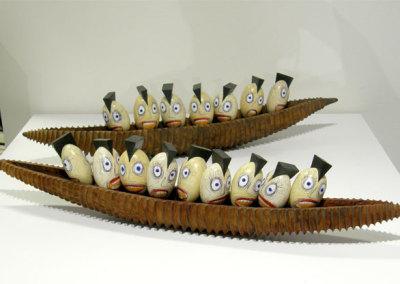 Hosaluk: Expedition (Wedge Heads) - 2013, Yellow cedar, madrone burl, acrylic. $2500 (pair)