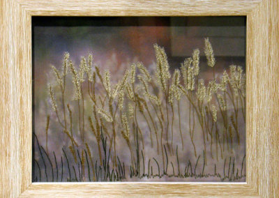 Donna Cutler, Autumn Rye: Thread, cotton fabric, buckram; free motion embroidered, dyeing, hand embroidered. 2013, $350.