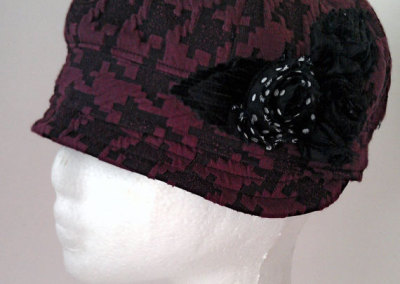 Ladies Cloche Hat - Houndstooth Polyester with Polkadot Flower