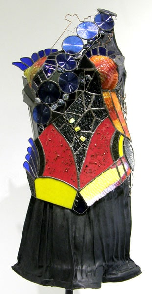 Stepping Out (Lennekë Verweij), 2012: Stained glass, fused glass, copper foil, wire, glaze. $500
