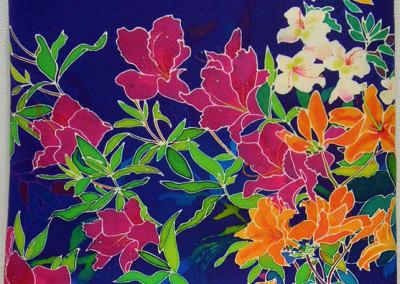 Azalea Touch Panel, Ink-jet printed silk satin, cotton lining.