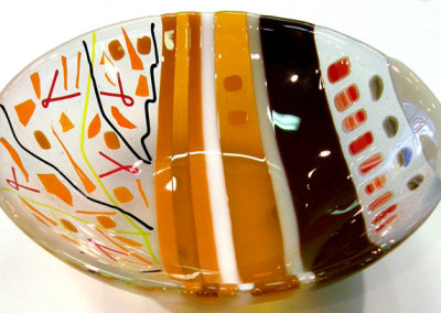 Oranges: Kimberly Dickinson, 2011 - Glass; Fused, cold worked, sandblasted. NFS $130