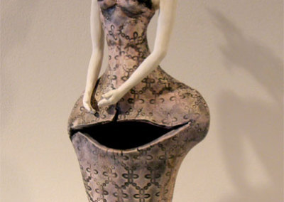 Portrait - Deborah Potter (clay, glaze, underglaze, wire, beads and copper)