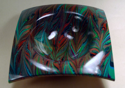 Marbled Square Bowl top view Gel-git pattern