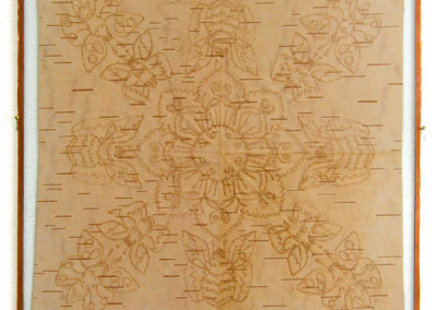 Untitled (Birch Bark Biting with Bees) (Angelique Merasty) 2012: Birch bark. Collection of The Mann Art Gallery.