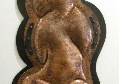 M. Craig Campbell, Pareidolia Cloud: Salvaged steel & copper, rivets, clear paint; repoussé, fabrication. 2012, $1,200.